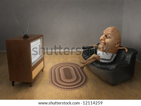 Potato sitting on a couch watching a vintage television - stock photo