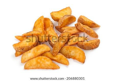 potato wedges isolated on white - stock photo