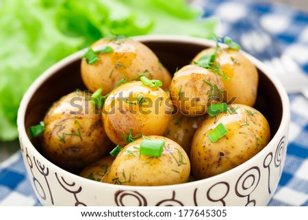 Potato with dill and scalliom - stock photo