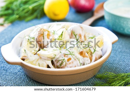 Potato with dill in sour cream dressing salad - stock photo