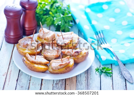potato with lard - stock photo