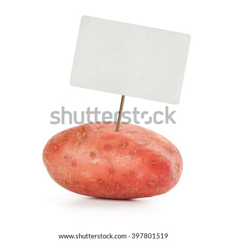 potato with price tag isolated on white background - stock photo