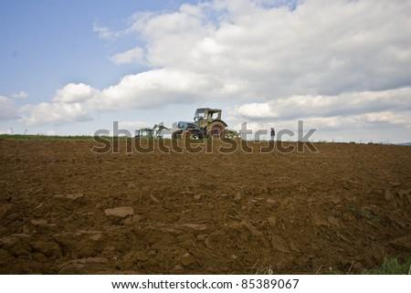 Potatoe harvesting in Bavaria, Germany - stock photo