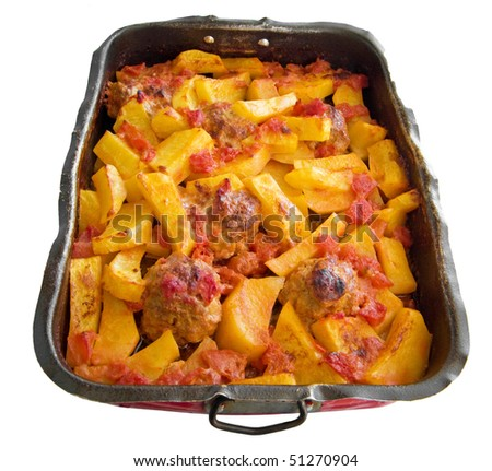 Potatoes and Meatballs in nonstick baking-pan. - stock photo