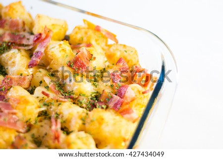 potatoes breakfast casserole close up  - stock photo