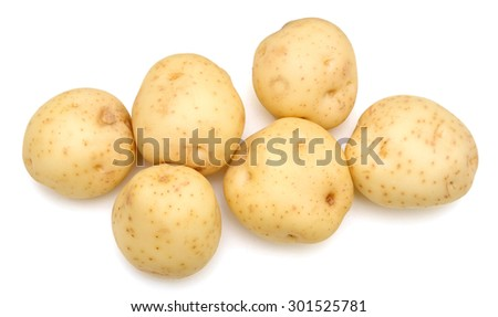 potatoes close up isolated on white