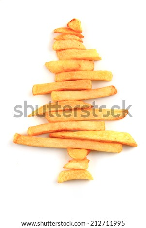 potatoes fries as christmas tree isolated on the white background - stock photo