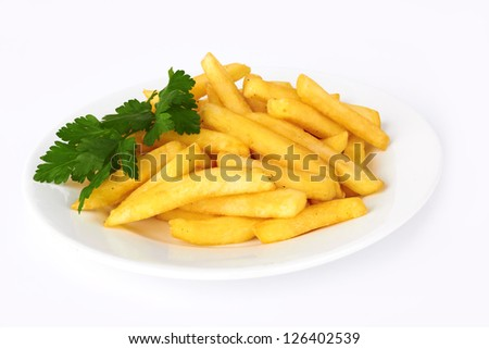 Potatoes fries in the plate on white - stock photo