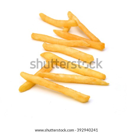 Potatoes fries on white background