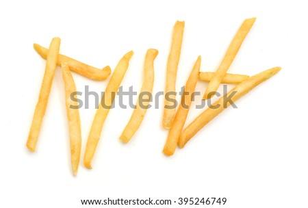 Potatoes fries on white background  - stock photo
