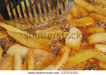 Potatoes frying in the oil - stock photo
