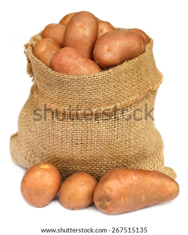 Potatoes in a sack bag over white background - stock photo