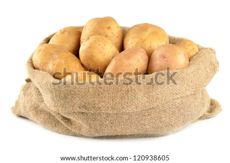 Potatoes in bag isolated on white - stock photo