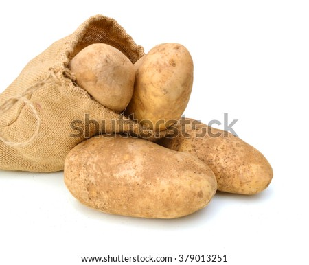 Potatoes isolated in bag on a white background
