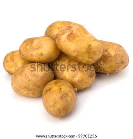 potatoes isolated on white background close up - stock photo