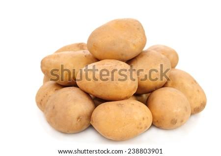 potatoes on white background - stock photo