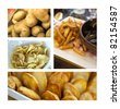 Potatoes, potato chips, mussels and fries - stock photo