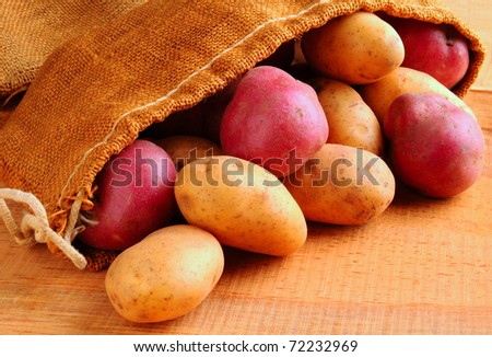 Potatoes spilling from burlap sack on a rustic wooden table. Horizontal format. - stock photo