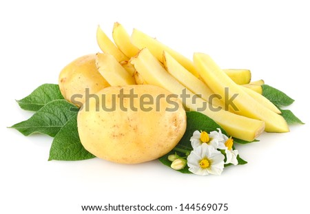 potatoes with leaves and flower isolated on white background - stock photo
