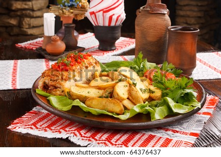 potatoes with meat - stock photo