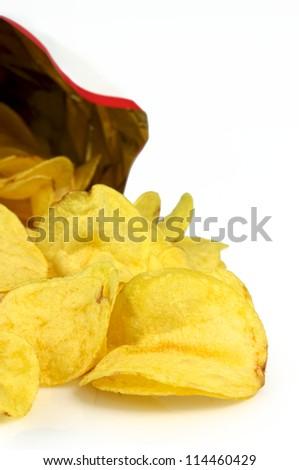 Potatos chips group - stock photo