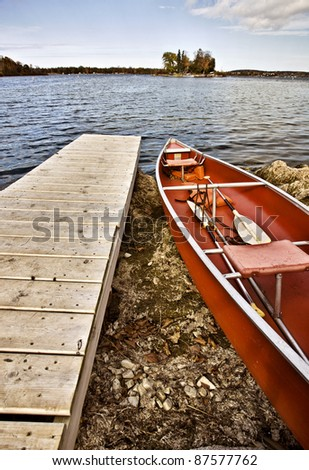 Potawatomi State Park Boat rental canoe dock Wisconsin Sturgeon Bay - stock photo