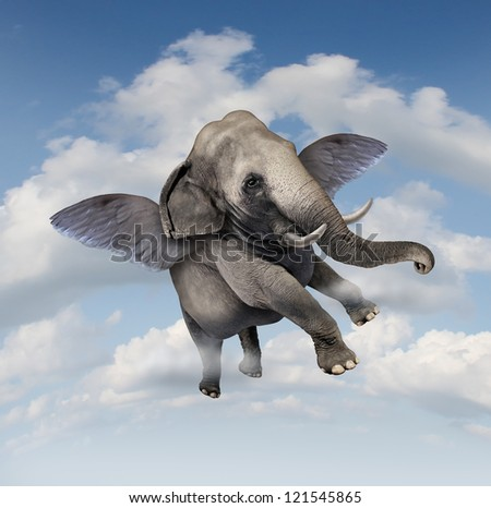 Potential and possibilities concept with a realistic elephant flying in the air using wings as a business symbol of achievement and belief in your abilities to succeed in upward growth. - stock photo