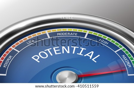 potential conceptual 3d illustration meter indicator isolated on grey background - stock photo