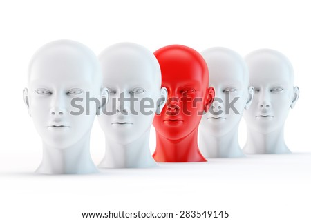 potential leader, unique red head among the white - stock photo