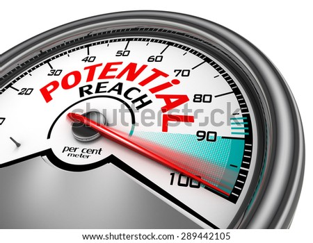 potential reach conceptual meter indicate hundred per cent, isolated on white background - stock photo