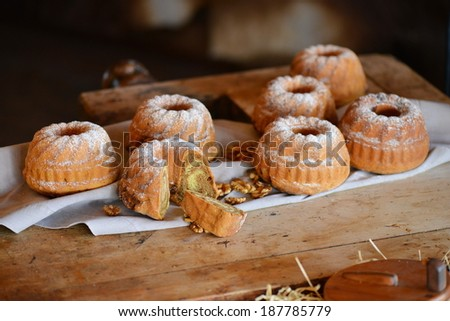 Potica, Roll with walnuts - stock photo
