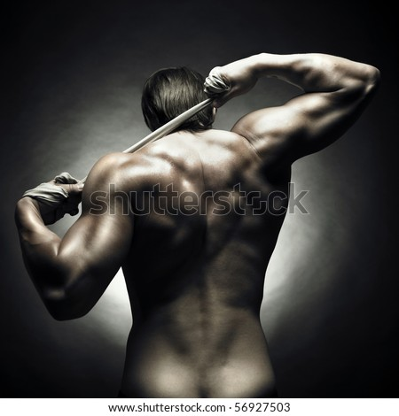 Poto of naked athlete with strong body