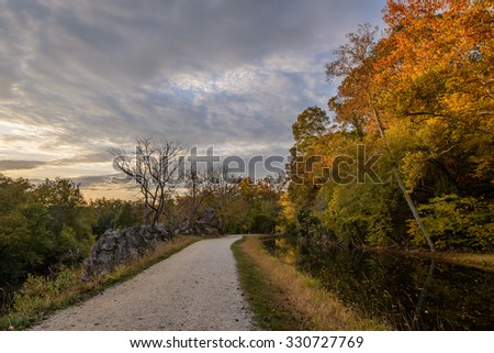 Potomac Maryland, USA - October 22: A sunset scene at the C&O Canal National Historical Park in Potomac, Maryland; on October 22, 2015 - stock photo