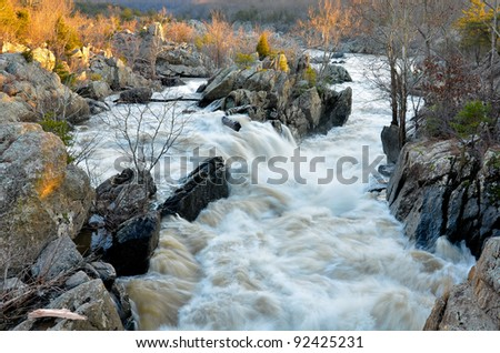 Potomac River at Sunset, Great Falls Park - stock photo