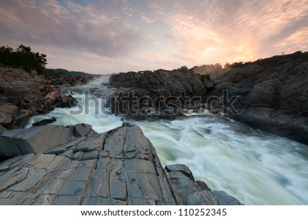 Potomac River Gorge Sunrise at Great Falls - stock photo