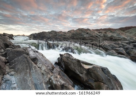 Potomac River Great Falls Virginia Sunrise - stock photo