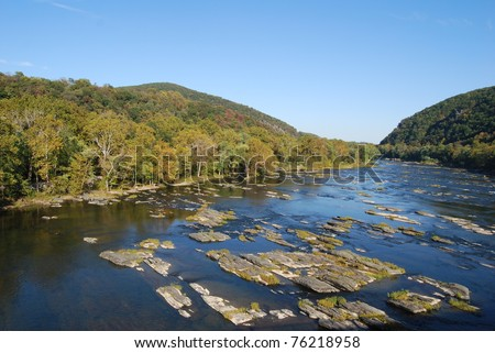 Potomac River in Harpers Ferry, West Virginia - stock photo