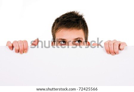 Potrait of a young guy holding a blank billboard
