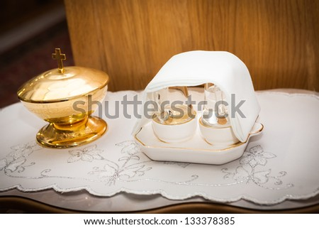 Pots and containers serving for carry of Holy Communion - stock photo