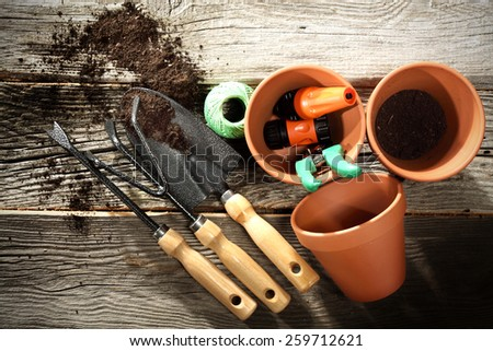 pots and garden tools  - stock photo
