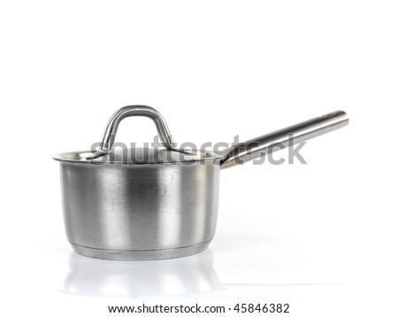 Pots and pans isolated against a white background