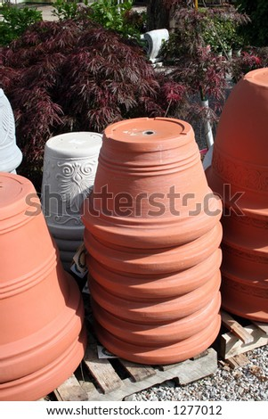 Pots at the garden center - stock photo