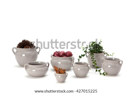 Pots for food. A pot of cinnamon, a pot with onions and a pot with flower pot with pine cones. Isolated on white background. - stock photo