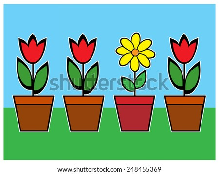 Pots of Flowers - stock photo