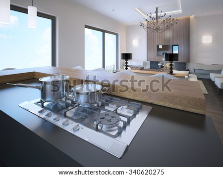 Pots on a gas stove in avant garde studio apartments. 3D render - stock photo