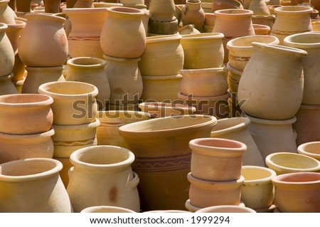 pots on a middle east market, Israel - stock photo