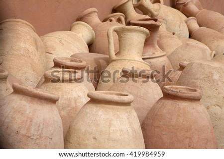 Pots, Sahara Desert, Morocco. - stock photo