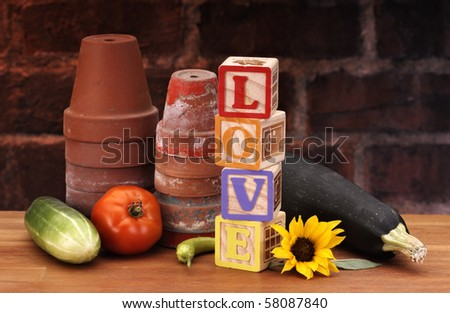 Pots with garden set with blocks spelling the word LOVE - stock photo