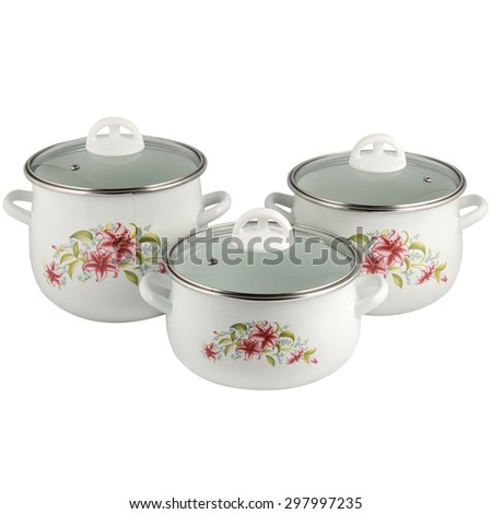pots with glass caps isolated on white background - stock photo