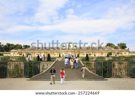 POTSDAM, GERMANY - AUGUST 21, 2013: Sanssouci Palace is created by Georg Wenzeslaus Knobelsdorff for Frederik II.